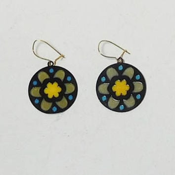 Flower Earrings, Stained Glass Look, Round, Small, Never Worn, Vintage, Hippie Jewelry
