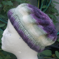 Purple green and white beanie, beret, hat, chemo hat
