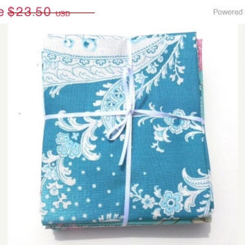 Sale Rosewater, Blue and Aqua, Rosewater Fat Quarter Bundle, by Verna Mosquera for FreeSpirit Fabrics