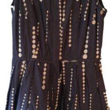 Women's Just Taylor Retro Inspired Silhouette Navy White Embroidered Dress Sz 6