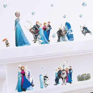Princess Elsa Snow Queen Anna Wall Stickers For Kids Girls Room DIY Anime Decal Baby Bedroom Cartoon Home Decor Poster Kids Gift