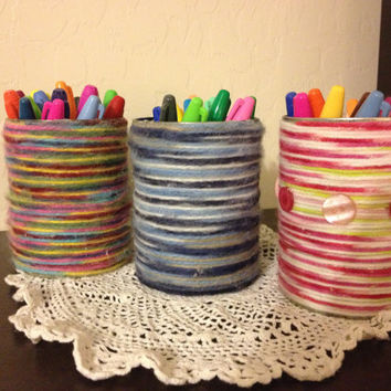 Upcycled Yarn Pencil Holders, Go Green, Blues Rainbow or Pink n Lime with Buttons