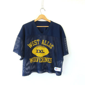 20% OFF SALE Vintage navy blue mesh cropped football jersey // athletic sports muscle shirt // fishnet // West Allis Wolverines size XL