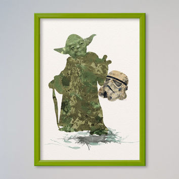 Star Wars Yoda Poster Watercolor Print Fine Art Giclee Star Wars Watercolor Poster Yoda using the force and Holding Stormtrooper's Helmet