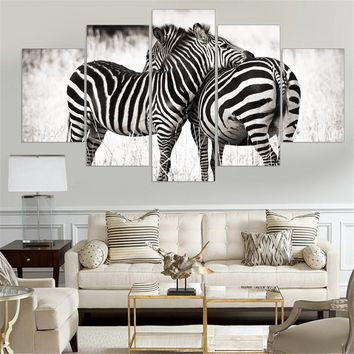 Canvas Painting Cuadros Decoracion Wall Art Home Decor Zebras Animal Wall Pictures for Living Room 5 Piece Canvas Art Unframed