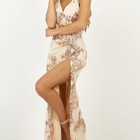 Out Till Dawn Dress in rose gold sequin Produced By SHOWPO