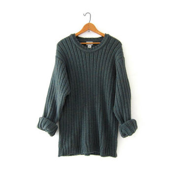 Vintage army green thick knit sweater. Oversized wool sweater. LL Bean wool sweater. Ribbed boyfriend sweater.