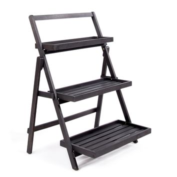Topside Outdoor Acacia Wood Plant Stand