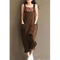 Casual Overalls Jumpsuit Loose Pockets