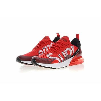 Nike Air Max 270 X Supreme Black White Red Running Shoes - Best Deal Online