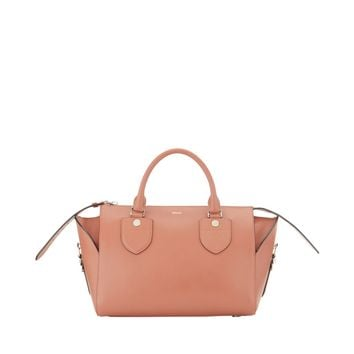 Bally Bloom Medium Leather Bag - Blush Leather Bowling Bag - ShopBAZAAR