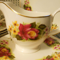 Vintage Service for 5 English Bone China Floral Tea Set - 18 Piece Gorgeous Mid-Century Red & Yellow Roses Shabby Chic Luncheon Set
