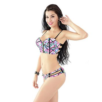 Floral Print Zipper Hollow Out Bikini B005733
