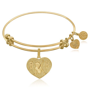 Expandable Bangle in Yellow Tone Brass with Betty Boop Love Symbol
