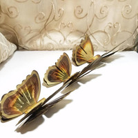 Vintage Brass Color Butterflies Double Wings Wall Decor Set of 3