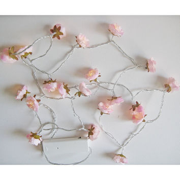 Pale Pink Shabby Rose Fairy Lights Flower String Light Garland Bridal Shower Nursery Decor