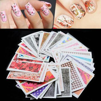 50pcs/pack Mix Nail Art Flower Water Transfer Sticker Nails Beauty Wraps Foil Polish Decals Temporary Tattoos Watermark Sticker