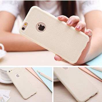 Beige Ultra Thin Soft Silicone Rubber Grid Phone Back Cover Case For iPhone 5 5S SE 6 6S 6 Plus 6S Plus