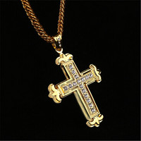 Unisex Luxury Handmade Gold Jesus Christ Crucifix Cross Pendant Necklace with Diamond Best Christmas Gift