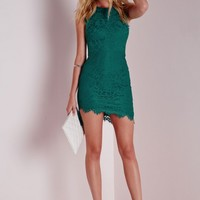 Missguided - Lace Scalloped Hem Bodycon Dress Green