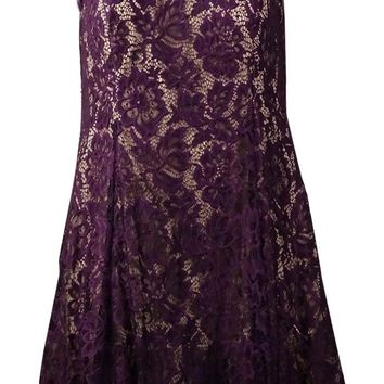 Betsy & Adam Women's Lace Tulle Fit & Flare Dress