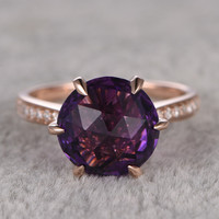 10mm Round Cut Amethyst Engagement Ring Diamond Wedding Ring 14k Rose Gold 6-Claws Birthstone New Design