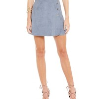 1. STATE Button A-Line Faux Suede Skirt | Dillards