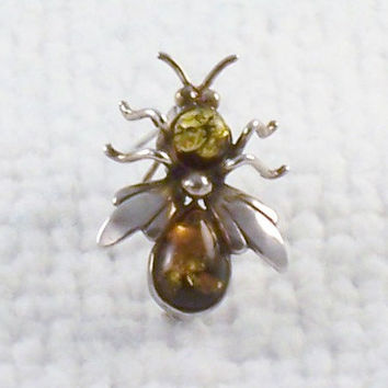 Vintage 1930's Sterling Silver Amber Bee Insect Bug Pin Brooch with C Clasp