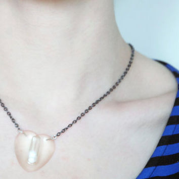 Heart shaped pill pendant necklace, for the love of MDMA real pill jewelry