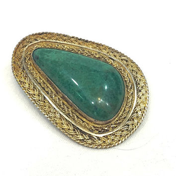 Large Sterling Vermeil Gemstone Brooch Pendant, Green Eilat King Solomon Stone, Braided Filigree Silver, 935 Israeli Jewelry, Vintage
