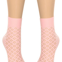 Pretty in Pink Perforated Ankle Socks - PLASTICLAND