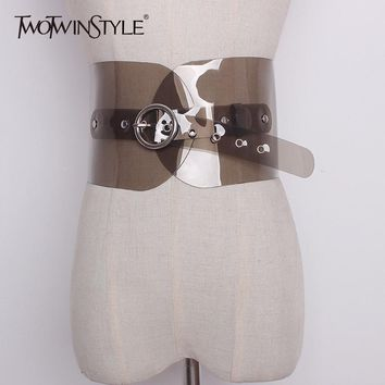 TWOTWINSTYLE PVC Belt Female Summer Transparent Metal Button High Waist Wide Cummerbund Belts For Women 2018 Fashion Basic