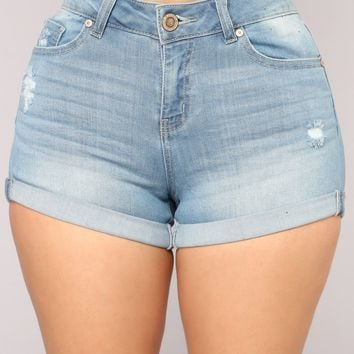 The World Go 'Round Distressed Shorts - Light Blue Wash