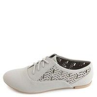 Lace-Up Laser Cut-Out Oxfords by Charlotte Russe - Gray