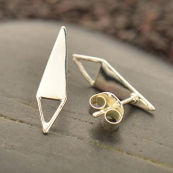 Sterling Silver Triangle Post Earrings with Open Triangle Loop