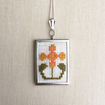 Cross Stitch Pendant 70s Vintage Inspired Orange Yellow Flower Embroidered Necklace Stitched Necklace Flower