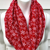 Red Christmas Scarf-Snowflake Handmade Holiday Flannel Infinity Scarf-Women's Winter Chunky Scarf-Toddler Kid's Christmas Scarf-Mommy and Me