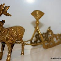 Brass reindeer and sleigh // Christmas decor // Holiday decoration