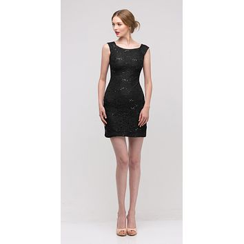 Black Above Knee Lace Fitted Cocktail Dress Tank Strap