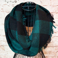 Buffalo Plaid Infinity Scarf - Black & Green