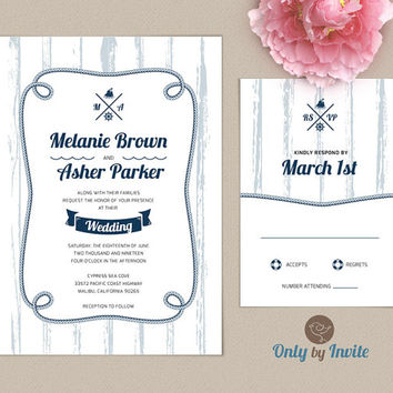 Nautical Wedding Invitation and RSVP Card Suite Printed | Ocean, sea, beach, rustic wedding invitations  | Destination wedding invitation