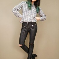 black faux iggy leather pants by Unif featuring chunky silver zippers | shopcuffs.com