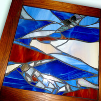 Stained Glass Blue Panel, Blue Glass Mosaic Hanging