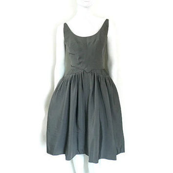 Early Pauline Trigere Silk Taffeta Cocktail Dress Cupcake Skirt Metallic Gray
