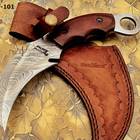 CBT-101 Custom Handmade Damascus Steel Karambit Knife- Rock Solid Knife