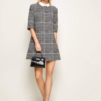 Contrast Collar Plaid Tweed Dress