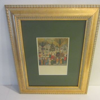 Tabriz School Print Art In Gilt Wood Frame Historic Event Described In Details