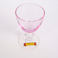 Vintage Pink Glass Cordial Ornate Stem Hand Blown Souvenir Grand Marais MN Stemmed Barware Shot Glass
