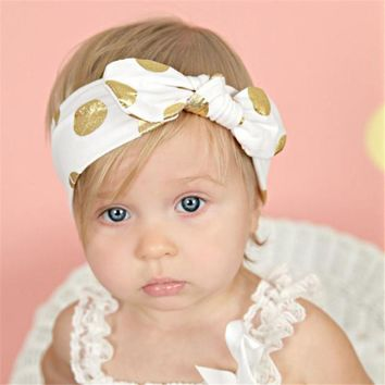 Golden Polka Dots Cute Baby Girl Child Infant Toddler Head Wraps Bandana Headband