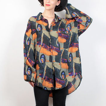 Vintage 80s Shirt Silk Abstract Print Oversized Blouse Long Sleeve Button Down Draped Top 1980s Boyfriend Shirt Green Orange XXL Extra Large